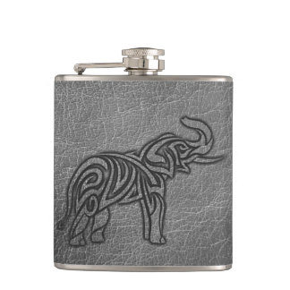 Leather Tribal Elephant Hip Flask