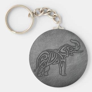Leather Tribal Elephant Keychain