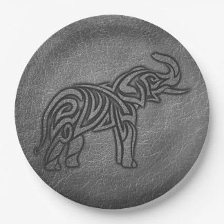 Leather Tribal Elephant Paper Plate