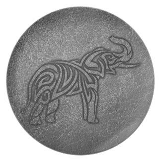 Leather Tribal Elephant Plate