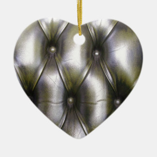 Leather upholstery ceramic heart ornament