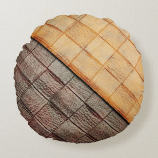 leather-weave round pillow