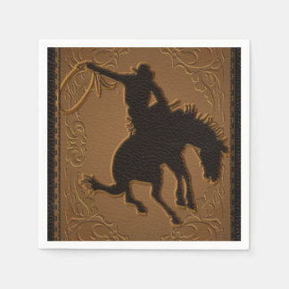 Leather Western Wild West Cowboy Birthday Party Paper Napkin