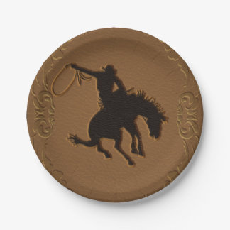 Leather Western Wild West Cowboy Birthday Party Paper Plate