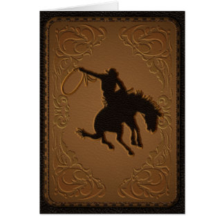 Leather Western Wild West Cowboy Thank You Party Card