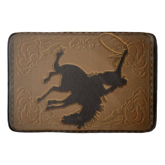 Leather Western Wild West Rustic Country Cowboy Bath Mat