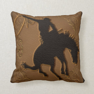 Leather Western Wild West Rustic Country Cowboy Throw Pillow