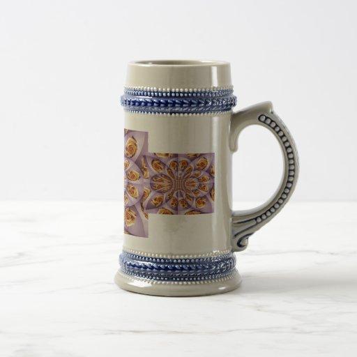 Leather Yellow and purple rose Pattern Mugs