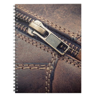 Leather zipper notebook