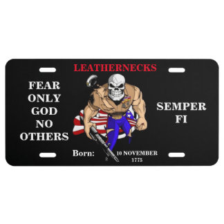 LEATHERNECKS FEAR ONLY GOD NO OTHERS LICENSE PLATE