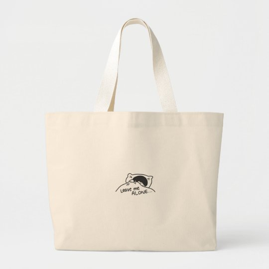 LEAVE ME ALONE, cute doodle Large Tote Bag