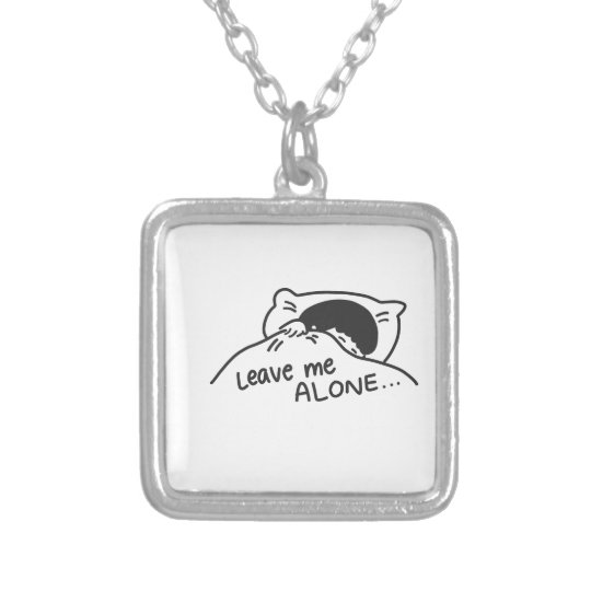 LEAVE ME ALONE, cute doodle Silver Plated Necklace