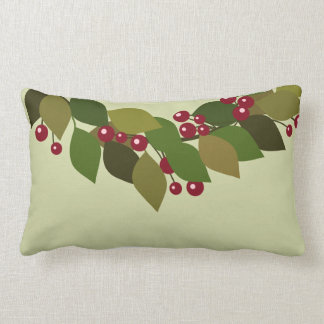 Leaves and Berries Wreath | Rustic Christmas Lumbar Pillow