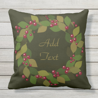 Leaves and Berries Wreath Throw Pillow