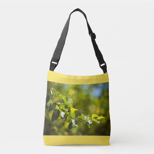 Leaves and bokeh crossbody bag