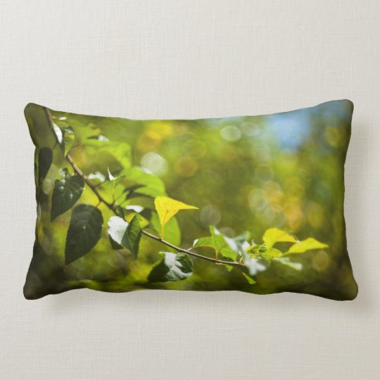 Leaves and bokeh lumbar pillow