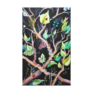 Leaves and butterflies painting canvas print