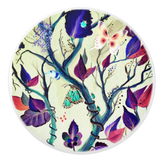 Leaves and butterflies painting ceramic knob