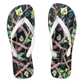 Leaves and butterflies painting flip flops