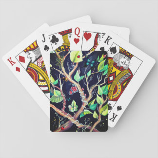 Leaves and butterflies painting playing cards