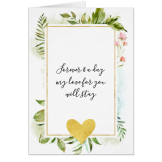Leaves and Flowers Gold Heart Forever and a day Card