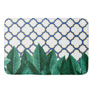 Leaves and Tiles Bath Mat