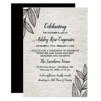 Leaves & Birch - Celebration of Life Memorial Card