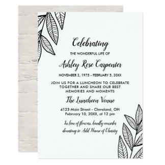 Leaves & Calligraphy Celebration of Life Memorial Card
