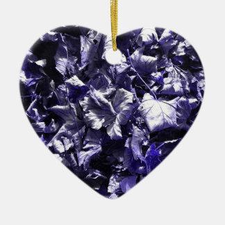 Leaves - Denim Blue Ceramic Heart Ornament
