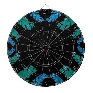 Leaves design on black dartboard