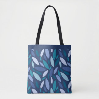 Leaves falling blue green seafoam colors tote bag