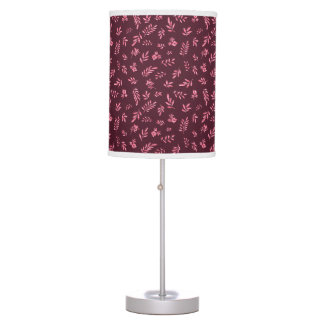 Leaves Flowers Pattern Watercolor Art Background Table Lamp
