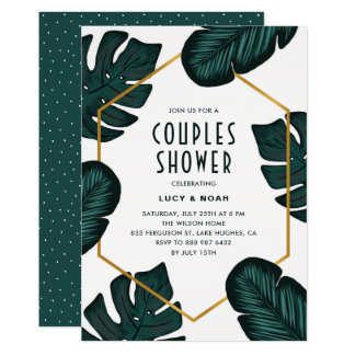 Leaves Frame Tropical Couples Shower Invitation