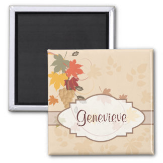 Leaves, Grapes and Ribbons - Customizable Square Magnet