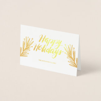 Leaves & Hand Script Holiday Greeting Card