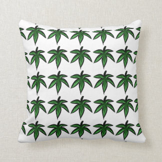 Leaves in greens in a pattern on white cushion