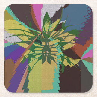 Leaves in Nature Organic Colors Square Paper Coaster