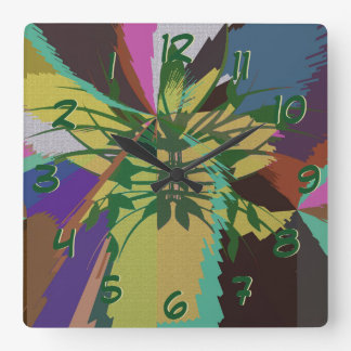 Leaves in Nature Organic Colors Square Wall Clock