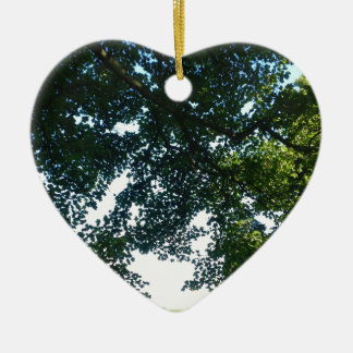 Leaves in Sunshine Ceramic Heart Ornament