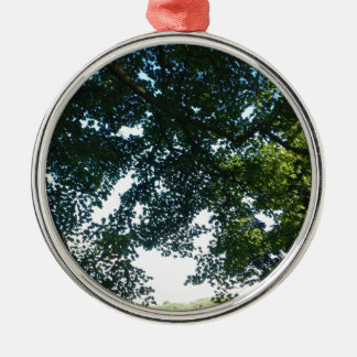 Leaves in Sunshine Silver-Colored Round Ornament