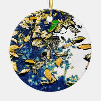 Leaves in the Rain Ceramic Ornament