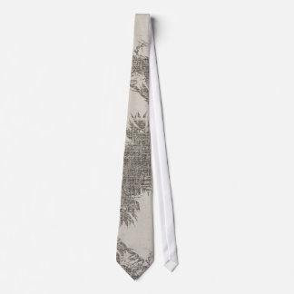 Leaves Linen Texture Grey Tie