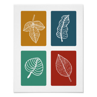Leaves Mid Century Modern Styled Poster