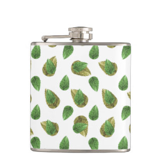 Leaves Motif Nature Pattern Hip Flask
