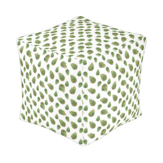 Leaves Motif Nature Pattern Pouf