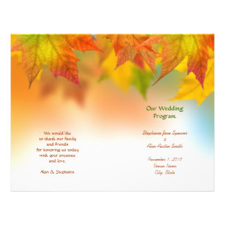Leaves of Autumn Wedding Program Flyers