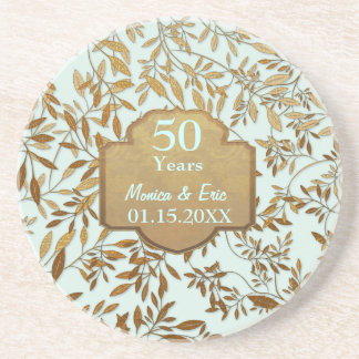 Leaves of Gold 50th Wedding Anniversary Beverage Coasters
