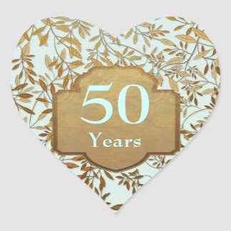 Leaves of Gold 50th Wedding Anniversary Heart Sticker