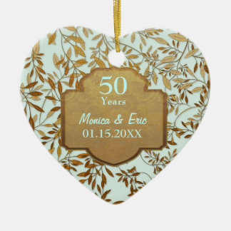 Leaves of Gold 50th Wedding Anniversary Christmas Tree Ornaments