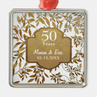 Leaves of Gold 50th Wedding Anniversary Square Metal Christmas Ornament